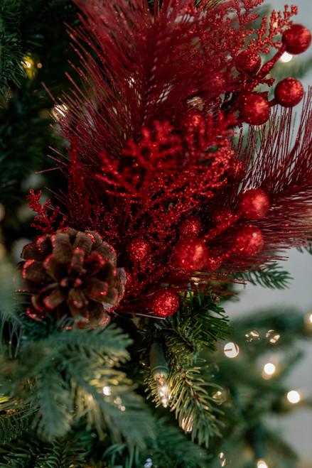 "13"" Glitter Berry/Cedar/Hard Pine Pick Christmas Tree Sprays"
