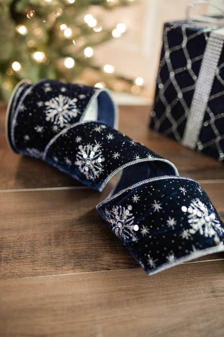 "4"" X 5 Yard Winter's Night Snowflake Velvet Ribbon Navy"