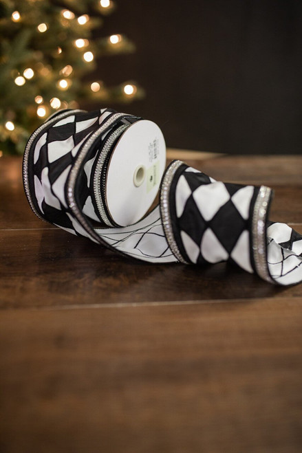 "4"" X 5 Yard Jewel Edge Harlequin Check Ribbon - Black/White"