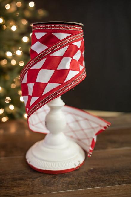"""4"""" X 5 Yard Jewel Edge Harlequin Check Ribbon -Red/White"""