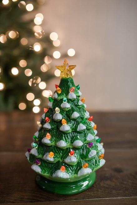 "8"" B/O Ceramic Vintage Lit Dolomite Green Christmas Tree"