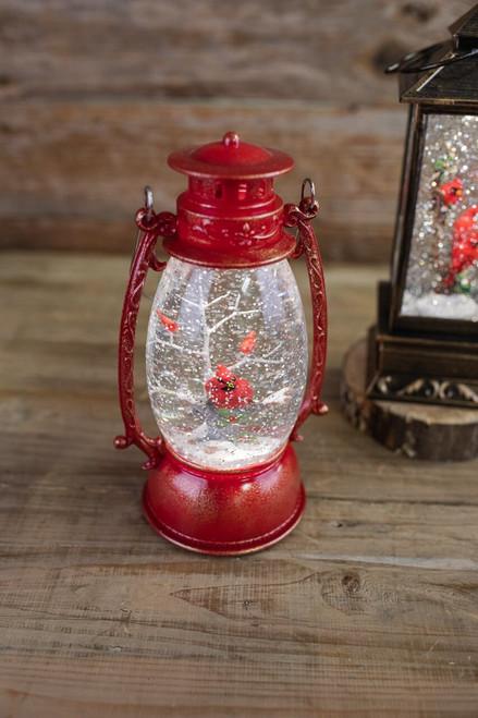 """9.5"""" LED Cardinal Lantern Water Globe"""