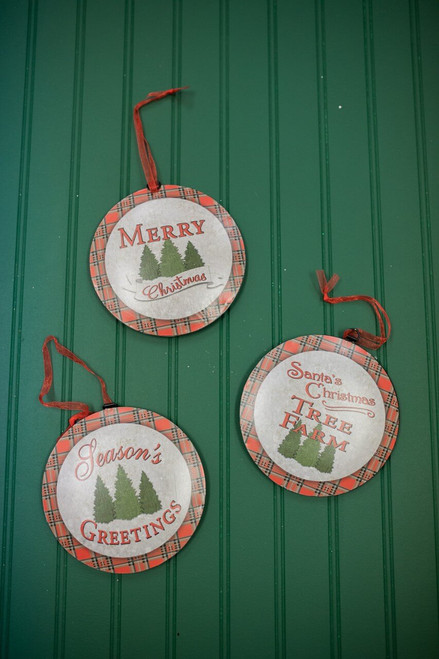 """6.6"""" Buffalo Plaid Metal Christmas Tree Ornaments"""