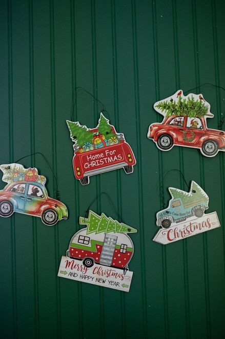 "7.8"" Wood Holiday Vehicle Christmas Ornaments"