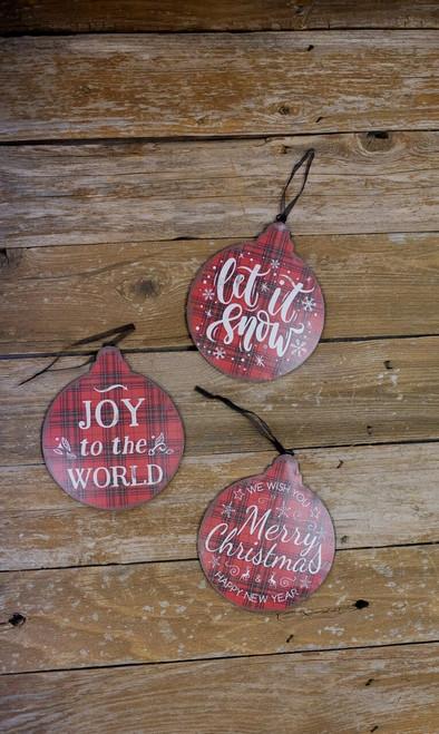 """8.6"""" Metal Buffalo Check Christmas Ornaments"""