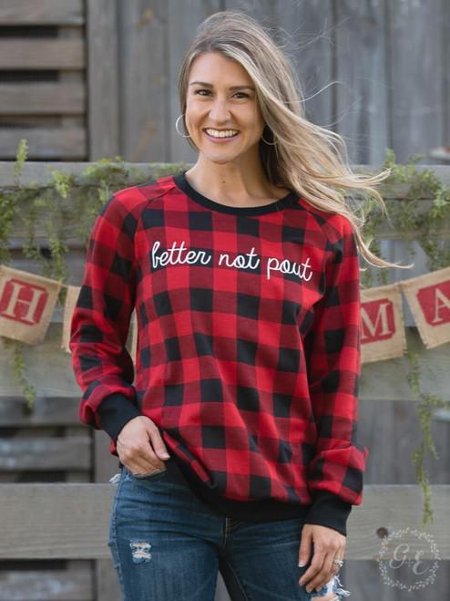 Buffalo Check Better Not Pout Christmas Sweater