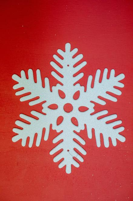 """11"""" Glittered White Snowflake Ornament"""