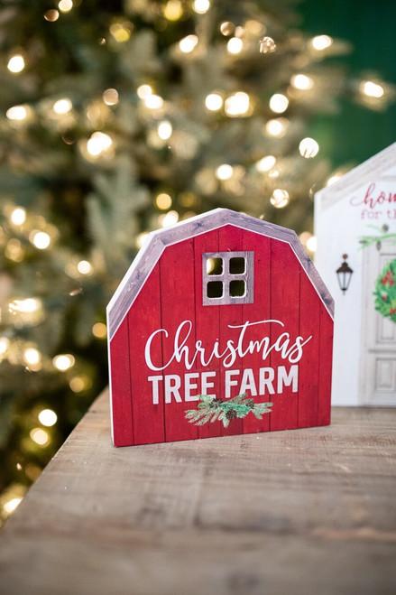 Christmas Tree Farm Barn Block Sign