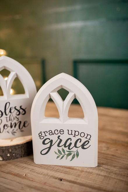 Grace Upon Grace Window Shaped Block Sign