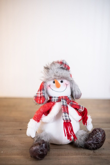 Plush Sitting Red/Grey Snowman