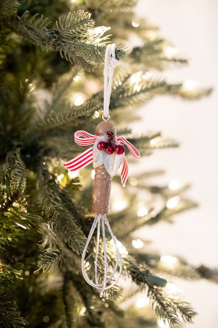 """6"""" Frosted Whisk Christmas Tree Ornaments"""