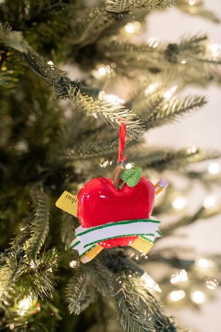 Red Apple Teacher Christmas Tree Ornaments