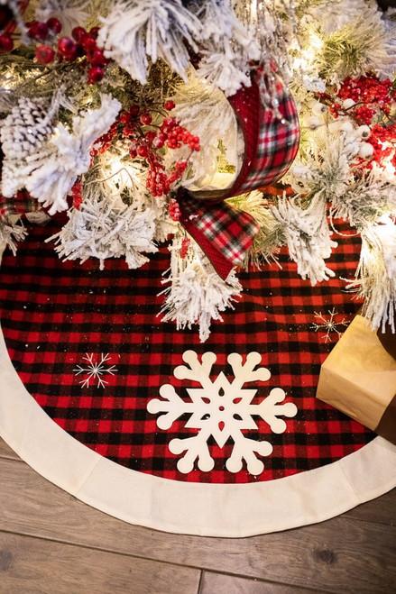 """48"""" Red/Black Buffalo Check Plaid Snowflake Tree Skirt"""