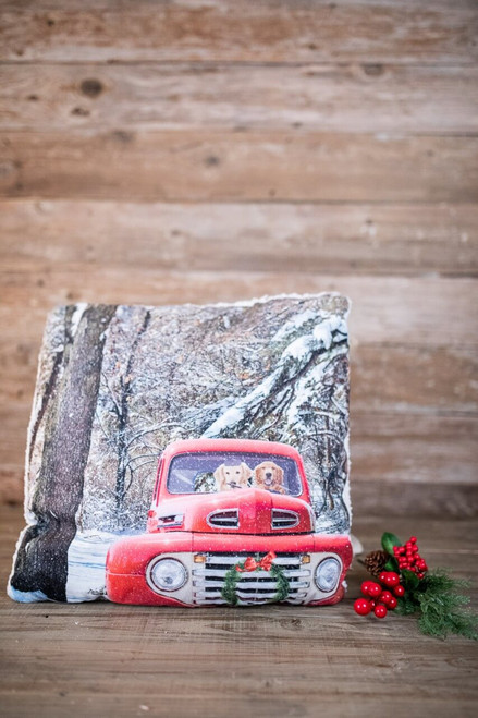 Light Up Dogs In Red Truck Pillow