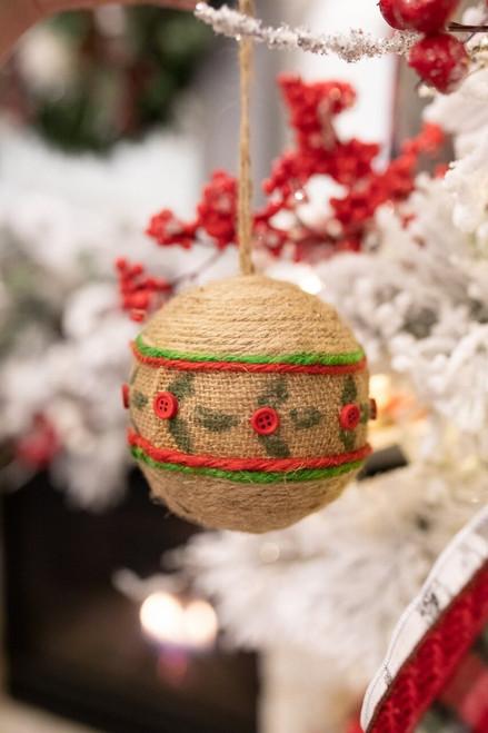 12 cm Natural Jute Ball Christmas Tree Ornaments