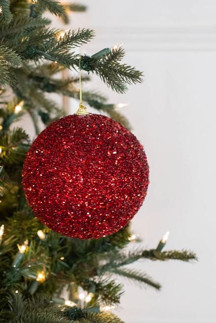 15cm Red Glitter Ball Christmas Ornaments