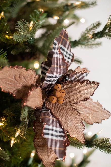 "24"" Plaid/Burlap W/ Jingle Bells Poinsettia"