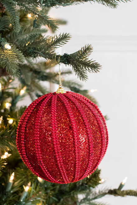 """6"""" Red Ball Bead Glitter Christmas Ornaments"""