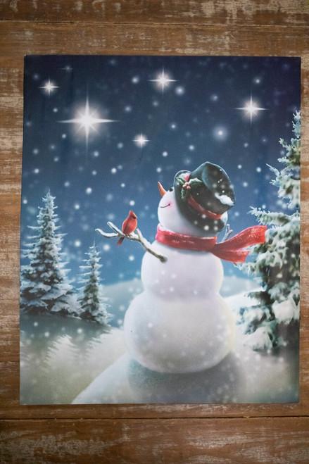 LED Snowman Canvas Print