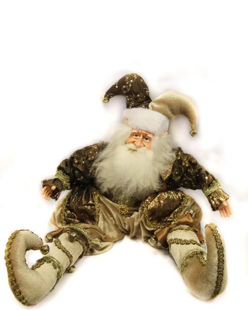 Copper Sitting Elf Santa