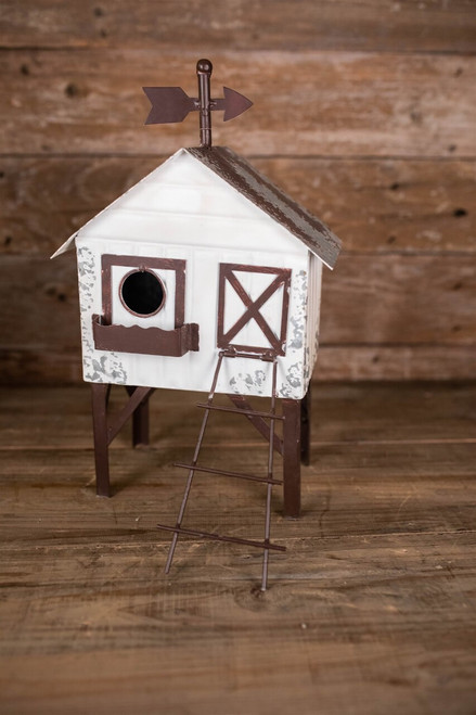 "16"" Antique Metal Birdhouse"