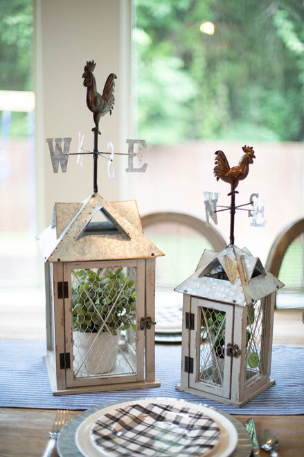Nesting Metal Lanterns with Rooster Weather Vane - Set of 2