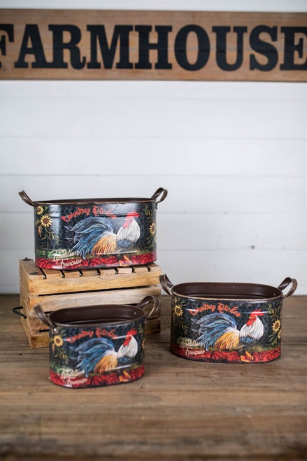 Nesting Oval Rooster Design Buckets - Set of 3