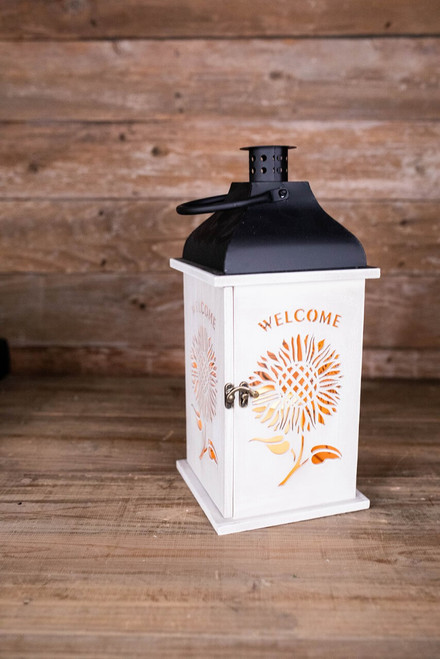 """14.9"""" Welcome Lantern with LED Candle and Timer"""