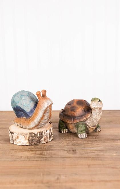 "6.8"" Turtle and Snail  Garden Figurine"