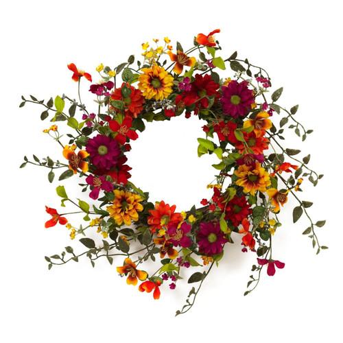 24-Inch Diameter Assorted Wild Flower Twig Wreath