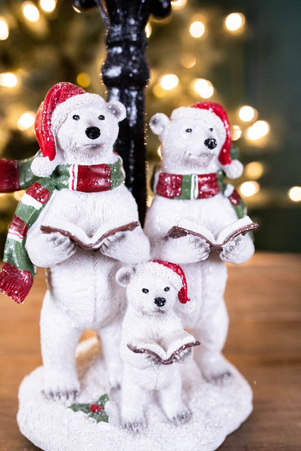 "15.1"" B/O Lighted Resin Holiday Polar Bear w/ LED Lighted Lamp Post"