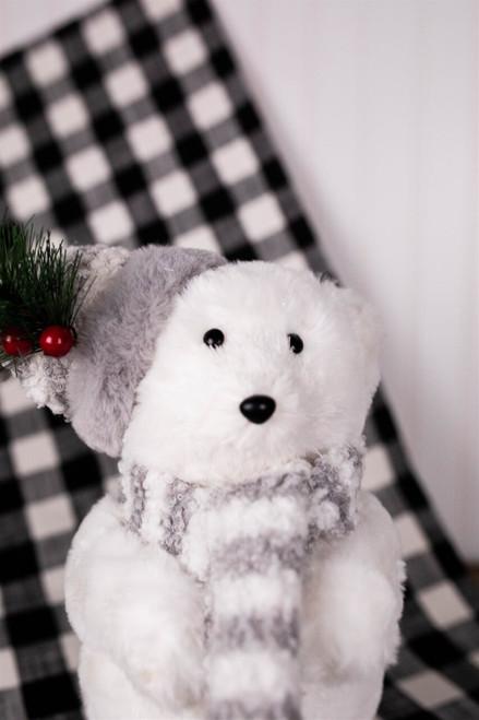 "16"" Polar Bear Figurine with Hat & Scarf"