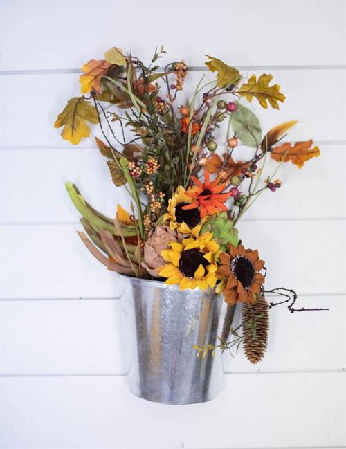 "19"" Harvest Sunflower Bucket Wall Decor"