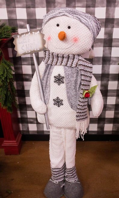 """58"""" H Plush Holiday Standing Snowman with Gray Scarf"""