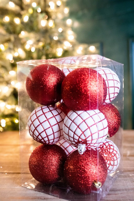 Red and White Boxed Ornament Set