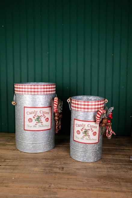 Galvanized Metal Candy Cane Buckets with Pine & Jingle Bell Accent