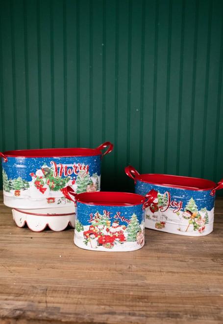 Metal Holiday Snowman Design Buckets w/ Glitter Accents