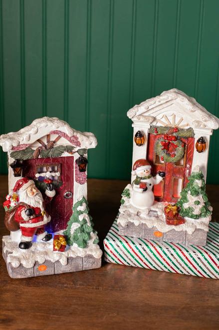 """10"""" Resin Light Up Scene Snowman/Santa"""