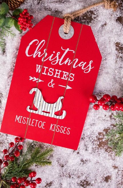 """12"""" Wood & Metal Holiday Hanging Sign Christmas Wishes and Mistletoe Kisses"""