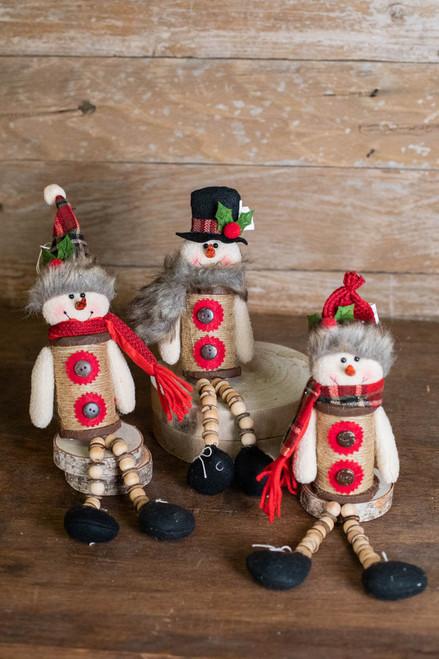 "14""H Plush Holiday Snowman"