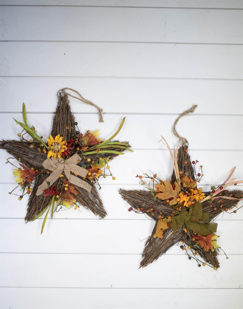 "17"" Faux Sunflower Twig Star"