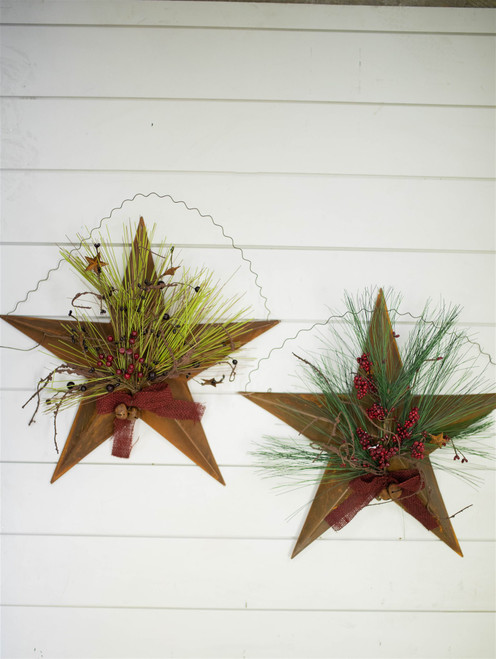 """18"""" Metal Floral Holiday Star"""