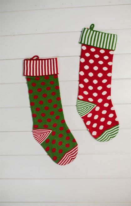 "21"" Cable Knit Elf Stripe & Polka Dot Stocking"