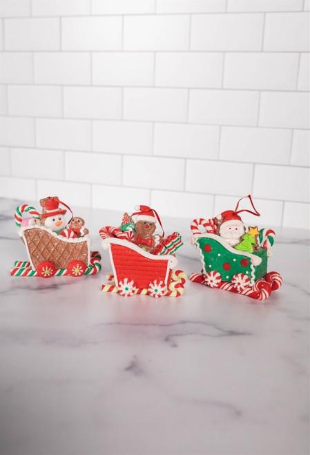 """3""""H Clay Dough Gingerbread Sleigh Ornament"""
