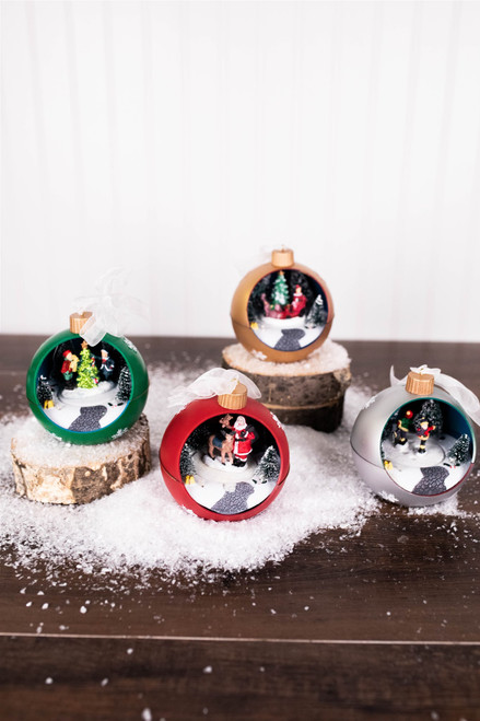 """4.7""""H Holiday Ornament with Moving Scene"""