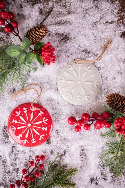 "4"" Winter Snowflake Round Ceramic Ornament"
