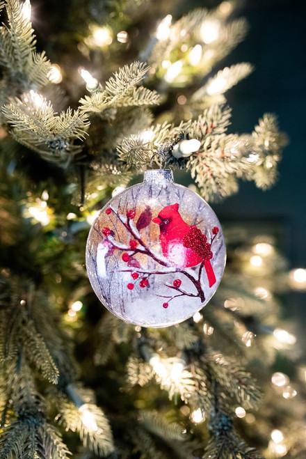 "5.25"" Glass Cardinal Ornament w/ Snow Filling"