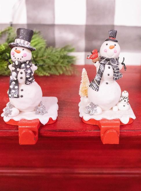 "5"" Clay Dough Snowman Stocking Holder"
