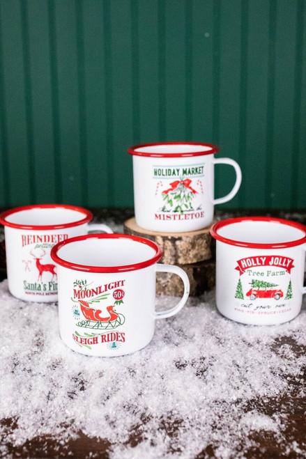 Enamel Campfire Mug with Christmas Designs