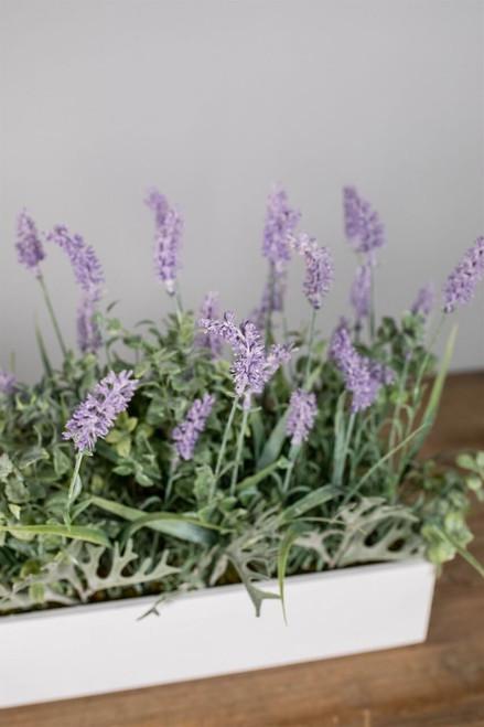 "18"" Lavender In Wood Ledge Box"